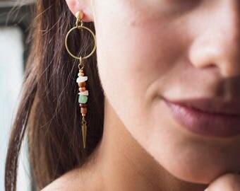 Long Earrings - Spike Earrings - Dangle Earrings - Teal Earrings - Blush Earrings - Rose Quartz - Drop Earring - Light Weight - Nickel Free