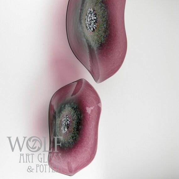 MADE TO ORDER Blown Glass Wall Platter Aubergine Plum Marsala Poppy Flower Glass Sculpture