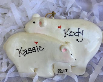 Personalized Polar Bear Couple Ornament