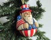 ON SALE Ceramic Patriotic Santa Christmas Ornament