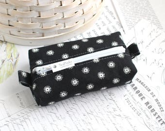 Black and White Polka Dot Small Boxy Pouch Polka Dot Coin Purse Black Change Purse Credit Card Holder