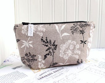 Black and White Botanical Floral Cosmetic Bag Makeup Bag Floral Zipper Pouch Organizer Neutrals Modern Print