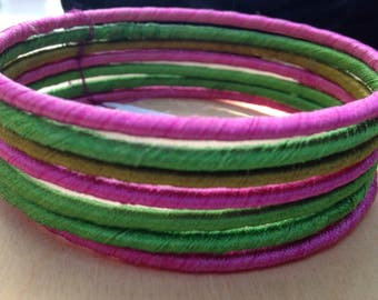 SALE! Summery Colorful Bangle Bracelet Set with Pink and Green Threading