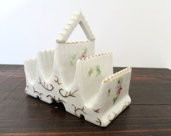 Vintage Toast Rack, Pagoda Style Tiered Toast Rack with Painted details and Gold Trim