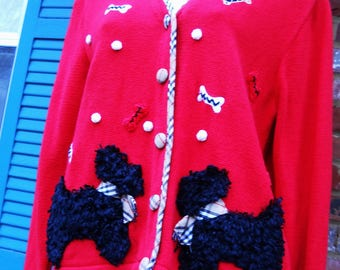 Women's Red Cardigan Sweater Scottie dogs Jack B Quick medium