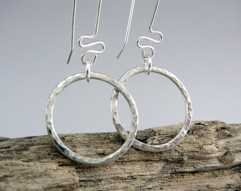 Sterling Silver Hoop Earrings, Nickel Free Earrings, Stylish Earrings, 925 Jewelry, Trendy Earrings, Hammered Silver Earrings