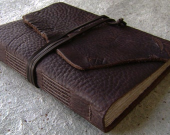 "Distressed leather journal, 5.5""x 7.5"",  rugged dark brown journal, travel journal, old world journal (2358)"