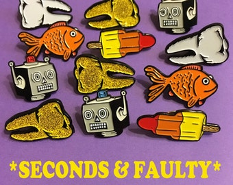 Seconds and Faulty Enamel Pins - Halloween Pins, Pin Seconds, Faulty Pins, Lapel Pin, Flair, Tie Pin, Robot, Goldfish, Tooth, Glitter,