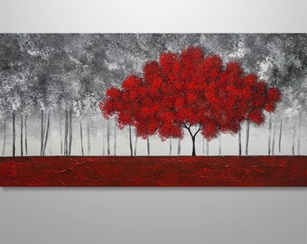 Abstract Painting, Tree Painting, textured Painting, Landscape Painting, Red Tree, Abstract Wall art, Wall Decor, Large black white red