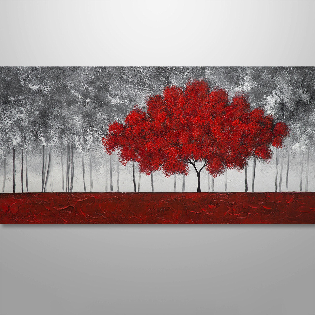 Abstract painting tree painting textured painting landscape for Toile abstraite