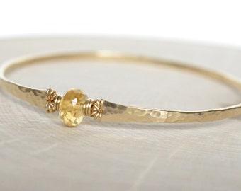 Citrine Bracelet Gold Hammered Bangle Bracelet November Birthstone Gold Filled Gemstone Bangle