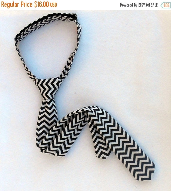 SALE Black and White Chevron Necktie - Skinny or Standard Width - Infant, Toddler, Boy         2 weeks before shipping