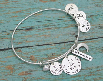Personalized I love you to the moon and back Bracelet, Mommy Bangle, Grandmother Bangle, Hand Stamped Jewelry, Personalized, Gifts for Her