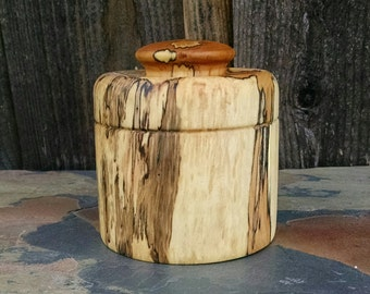 RESERVED - Small Wooden Box with Lid - Hand Turned Lidded Wood Box - Maple Wood Wooden Box with Lid