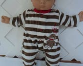 Bitty Baby Boy Little Sock Monkey   footed  Pajama, Sleeper, Doll Clothes