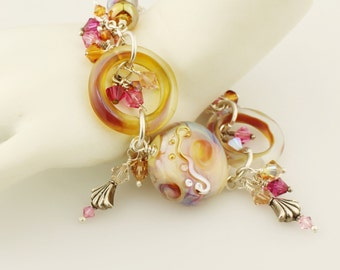 Bracelet - Gold, Pink  Lampwork and Sterling Silver Iridescent, Chunky Beaded Jewelry