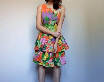 Tropical Dress Vintage Orange Dress Drop Waist Dress Ruffle Dress 80s Dress Floral Party Dress 1980s Summer Dress Sundress - Medium M