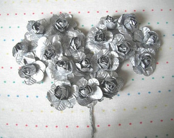 """Metallic Silver Paper Millinery Flowers, Large Sized Roses, 1 1/2"""" (18)"""