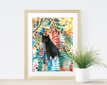 Tropical Safari Panther Art Print - Wall Art - Gift for Animal Lover - Panther Artwork -Home- Jungle -Wildlife-  A4 A3 Print