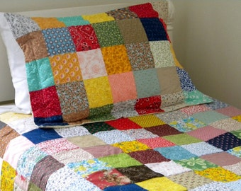 Quilt, Farmhouse Quilt, Free US Shipping--Photography Prop--Classic Americana Patchwork Quilt--54 X 81 inches--cotton