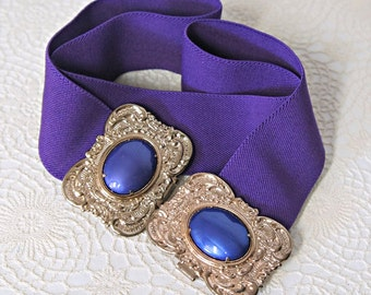 1980's Stretch Belt Purple Gold Tone Cinch Belt with Purple Stone Adjustable
