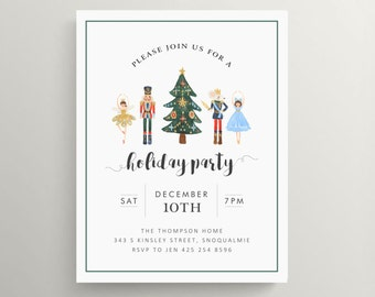 nutcracker holiday party invitation // christmas party // open house // xmas // home // watercolor // traditional // nutcracker suite