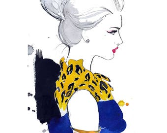 Cheetah Chic, original watercolor illustration