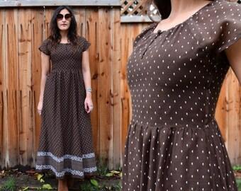 Vintage 70s Brown PAISLEY FOLK MAXI Dress Xs S