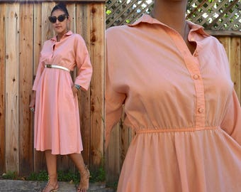 Vintage 80s Peach Summer SHIRT DRESS M