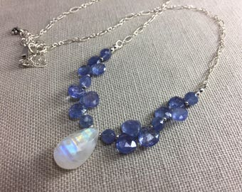 Rainbow Moonstone and Tanzanite Necklace in Sterling Silver