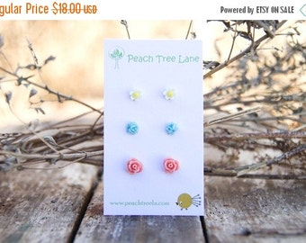 SALE Tiny Pink Coral Flower Rose Earrings // Baby Blue Earrings // Mustard Yellow Daisy Studs