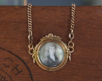 Antique Assemblage Picture Pendant Necklace with Antique Miniature Painting and Antique Chain