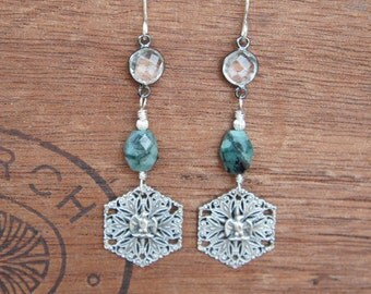 Antique Assemblage Earrings with Rough Emeralds Rock Crystal and Silver Plated Napoleonic Eagles