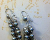 Vintage Mexican Silver BALLS / DAngly CLUSTER EArrings / Sterling Silver Grape Clusters / Made in Mexico