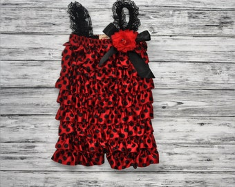 Ladybug Petti Romper- Red and Black Petti Romper-Romper-Polka Dot Romper-1st Birthday Romper-Photo Prop