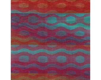 Red with Brown to Navy to Aqua Waves and Circles (L)