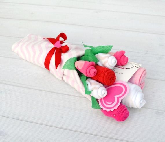 Mom Valentine's Day Gift - Valentine's Baby Gift - Baby Flower Bouquet - First Valentine's Day - Baby Valentines Outfit - Valentines Flowers