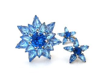 Vintage Blue Star Rhinestone Brooch Earrings Set • 50s Flower Demi Parure • Vintage 1950s Jewelry