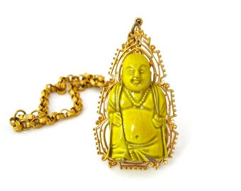 Signed ART Buddha Enamel Necklace • Asian Oriental Pendant Chain • Vintage 1960s Jewelry