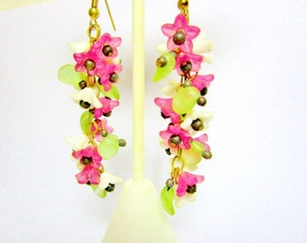 Vintage Pink Fuchsia Lucite Flared Flowers Chandelier Dangle Earrings Victorian Style Art Nouveau Brass Translucent Pink White Green Spring