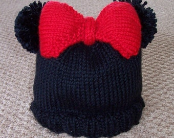 Knit PATTERN  Mouse Baby Hat with bow