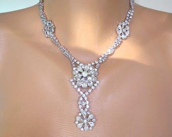 Crystal Bridal Necklace, Statement Necklace, Rhinestone Bib, Prom Jewelry, Art Deco, Rhinestone Necklace, Gatsby Jewelry, 1950s Jewelry