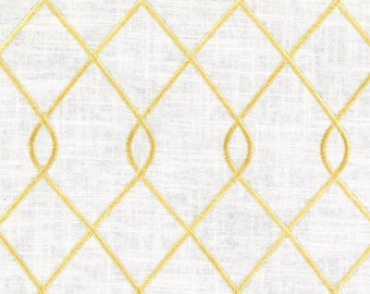 Duralee 73023-66 RICO, YELLOW designer curtain panels, drapes Duralee embroidered drapes