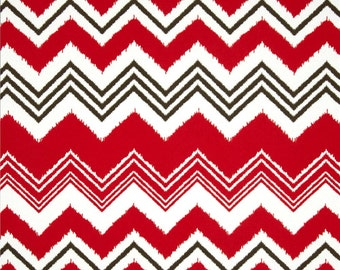 "Set of 4 Flat chair pads, seat cushions, 1"" thick foam, zazzle, rojo red, zigzag, indoor outdoor polyester"