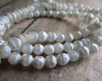 4mm White Faceted Etched Agate, Etched Agate beads, Etched Agate, 4mm beads, bead strands, gemstones, gemstone bead strands