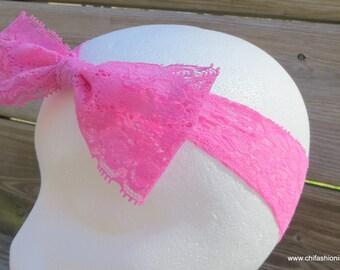 Pink Lace Bow/ Lace Newborn Bow/ Newborn Headband/ Photography Prop/ Baby Headband/ Lace/ Bow/ Headband/ Baby/ Toddler/ Headband Bows/