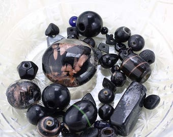 Black Bead Soup, 43g Mixed Lot of Loose Beads, Black Bead Destash, Black Glass Beads, Destash Beads, Black Bead Mix #2