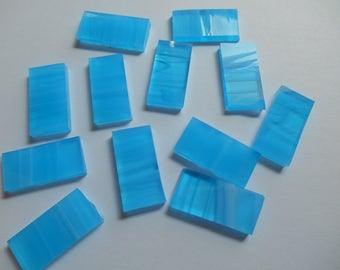 """50 Pieces 1/2"""" x 1"""" Blue & White Wispy Mix  Stained Glass Mosaic Border Tiles Hand cut"""