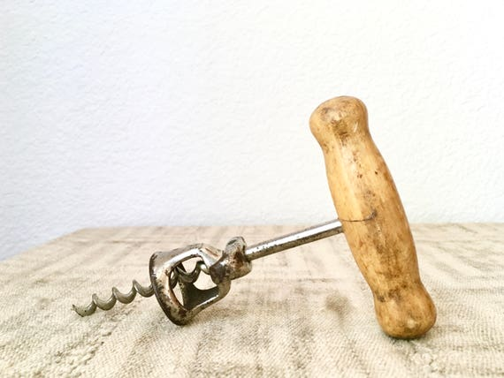 Vintage Corkscrew with Wood Handle and Bell Cap