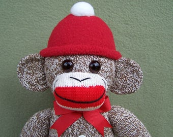 Classic Red Heel Sock Monkey Handmade Soft Toy
